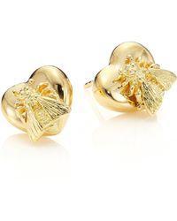 Gucci - 18k Yellow Gold Bee Heart Stud Earrings - Lyst