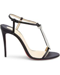 c6480ba7ee9 Christian Louboutin Sotto Sopra Patent Red Sole Sandal in Black - Lyst