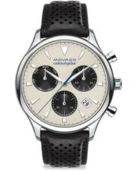 Movado - Heritage Calendoplan Stainless Steel & Leather Strap Watch - Lyst