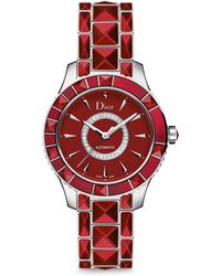 Dior - Christal Diamond, Red Sapphire Crystal & Stainless Steel Automatic Bracelet Watch - Lyst