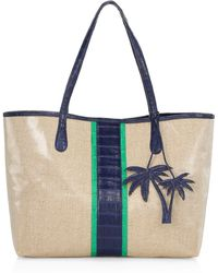 Nancy Gonzalez - Women's Tina Craig X Medium Erica Linen & Leather Tote - Navy Rose - Lyst