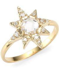 Anzie - Aztec Clear Topaz & Silver Starburst Ring - Lyst