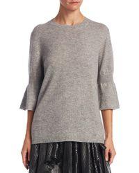 Halston - Crewneck Bell-sleeve Sweater - Lyst