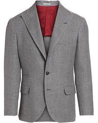 Brunello Cucinelli Houndstooth Wool & Linen Blend Jacket - Gray