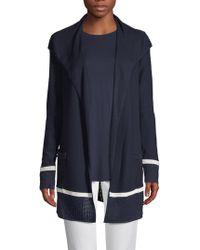 St. John - Birdseye Mesh Knit Drape-front Cardigan - Lyst