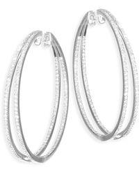 Meira T - Diamond & 14k White Gold Hoop Earrings - Lyst