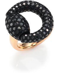 Gucci   Black Diamond & 18k Pink Gold Horsebit Ring   Lyst