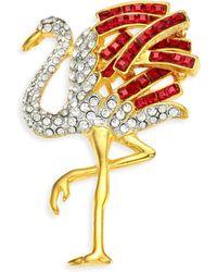 Kenneth Jay Lane - Glass Stone Flamingo Pin - Lyst