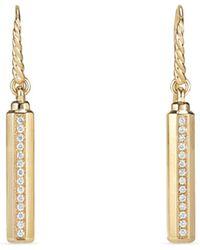 David Yurman - Pave Diamond & 18k Yellow Gold Earrings - Lyst