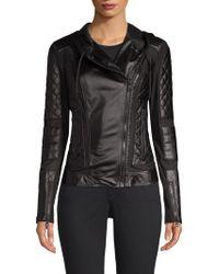 BLANC NOIR - Voyage Hooded Leather Moto Jacket - Lyst