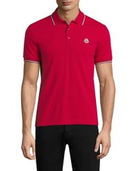 Moncler - Contrast Trimmed Cotton Polo - Lyst