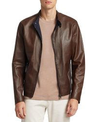 Saks Fifth Avenue - Collection Banded Collar Leather Jacket - Lyst
