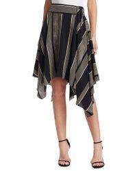 Halston - Printed Handkerchief Slit Skirt - Lyst