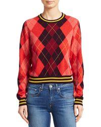 Rag & Bone - Dex Wool Argyle Cropped Sweater - Lyst