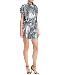 Carolina Ritzler - Short Sleeve Sequin Romper - Lyst