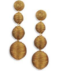 Kenneth Jay Lane Thread Triple-Drop Ball Earrings, Golden