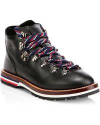 Moncler - Black Leahter & Velvet Hiking Boots - Lyst