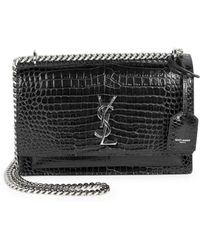 Saint Laurent - Medium Sunset Monogram Croc-embossed Leather Chain Shoulder  Bag - Lyst 0e6c63f812884