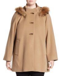 Cinzia Rocca - Hooded Duffle Fur Car Coat - Lyst
