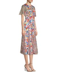 Prabal Gurung - Floral Silk Chiffon Midi Dress - Lyst