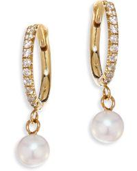 Zoe Chicco - White Diamond, 4mm Freshwater Pearls & 14k Yellow Gold Hoops Earrings - Lyst