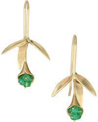 Annette Ferdinandsen - Emerald & 14k Yellow Gold Wildflower Earrings - Lyst