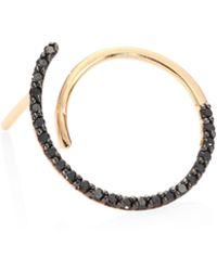 Kismet by Milka - Spectrum Black Diamond & 14k Rose Gold Single Hoop Earring - Lyst