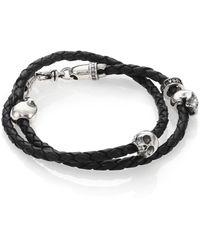 King Baby Studio - Thin-braided Double Wrap Leather Bracelet - Lyst