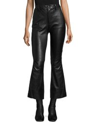 Helmut Lang | Leather Crop Flared Pants | Lyst