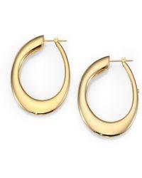 Roberto Coin - 18k Yellow Gold Oval Hoop Earrings/1.8 - Lyst