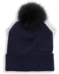 House of Lafayette - Veiled Fox Fur Pom-pom Beanie - Lyst