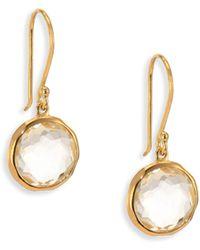 Ippolita - Lollipop Clear Quartz & 18k Yellow Gold Mini Drop Earrings - Lyst