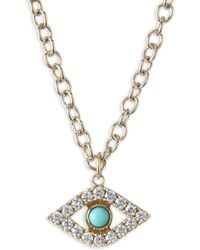 Sydney Evan - Xl Evil Eye Diamond & Turquoise Pendant Necklace - Lyst
