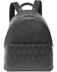 Fendi - Leather Logo Embossed Backpack - Lyst