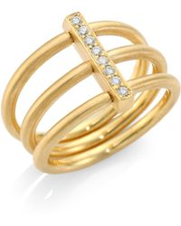 Carelle - Moderne Diamond & 18k Yellow Gold Trio Ring - Lyst
