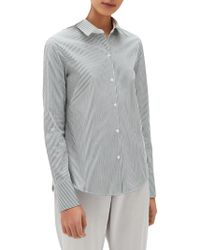b9eaf72c9e58e Lyst - Lafayette 148 New York Linley Stretch Cotton Blouse in White