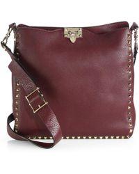 Valentino - Rockstud Utilitarian Medium Leather Cross-Body Bag - Lyst