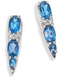 Nikos Koulis | Spectrum Tapered Diamond, London Blue Topaz & 18k White Gold Stud Earrings | Lyst