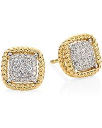 Roberto Coin - New Barocco 18k Yellow Gold Diamond Earrings - Lyst