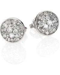 Plevé | Ice Diamond & 18k White Gold Button Earrings | Lyst
