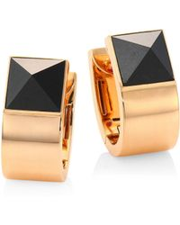 Roberto Coin - Prive Pyramid Black Jade & 18k Rose Gold Earrings - Lyst