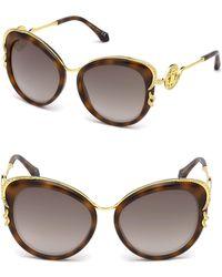 Roberto Cavalli - 56mm Round Logo Tortoiseshell Sunglasses - Lyst