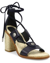 Rag & Bone - Eden Leather Lace-up Block Heel Sandals - Lyst