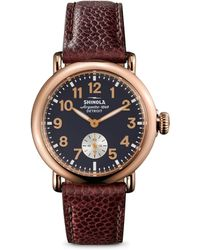 Shinola - Runwell Rose Goldtone Stainless Steel & Leather Strap Watch - Lyst