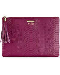 Gigi New York - Uber Python-embossed Leather Clutch - Lyst