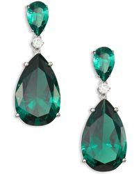 Adriana Orsini - Double Crystal Teardrop Earrings - Lyst
