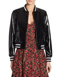 Alice + Olivia | Demia Embroidered Bad Ass Leather Bomber Jacket | Lyst