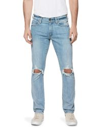 PAIGE - Lennox Modern Slim-fit Distressed Jeans - Lyst