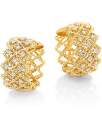 "Roberto Coin - New Barocco Diamond & 18k Yellow Gold Hoop Earrings/0.7"" - Lyst"