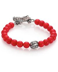 King Baby Studio | Coral & Silver Feather Beaded Bracelet | Lyst